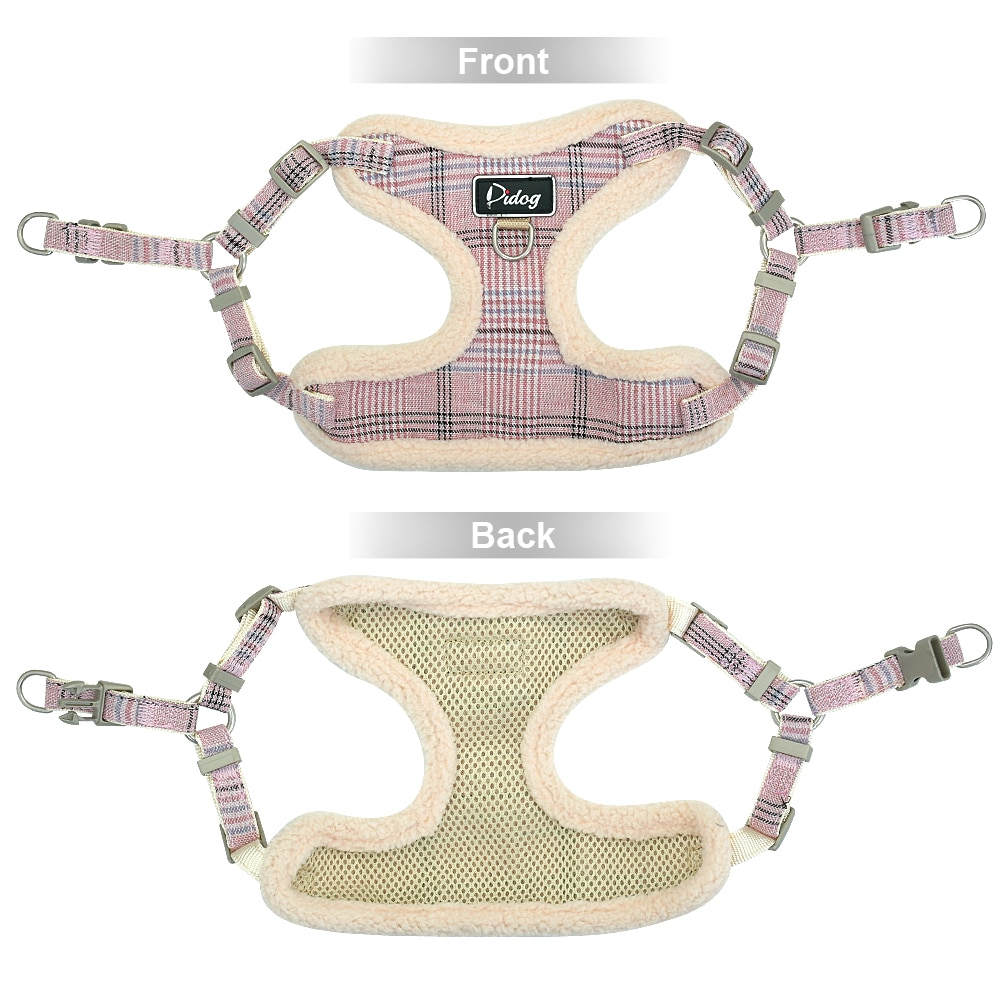 Dog Warm Plaid Vest with Leash